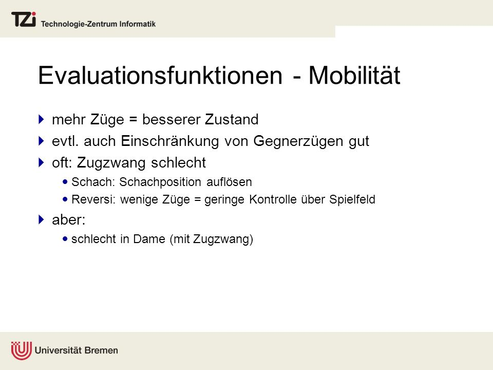 Evaluationsfunktionen - Mobilität