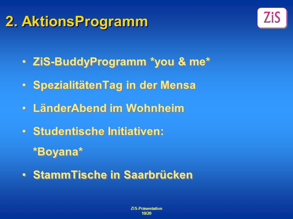 2. AktionsProgramm ZiS-BuddyProgramm *you & me*