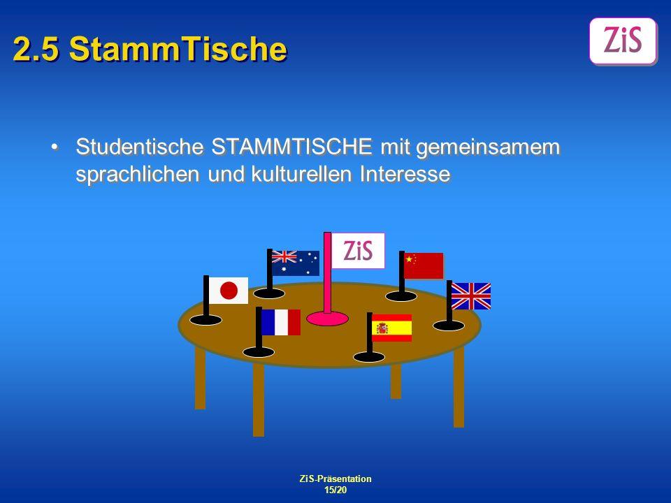 2.5 StammTische Studentische STAMMTISCHE mit gemeinsamem sprachlichen und kulturellen Interesse. ZiS-Präsentation.