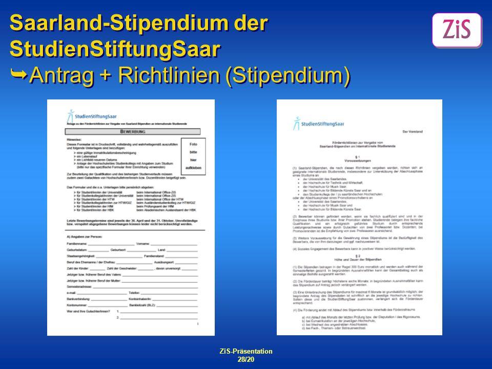 Saarland-Stipendium der StudienStiftungSaar Antrag + Richtlinien (Stipendium)