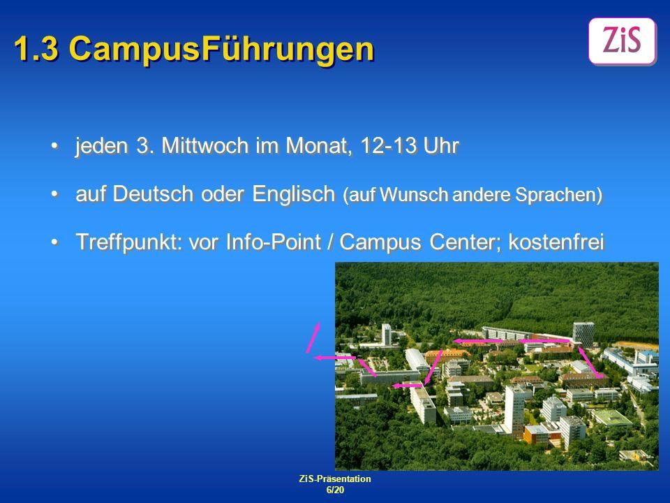 1.3 CampusFührungen jeden 3. Mittwoch im Monat, 12-13 Uhr