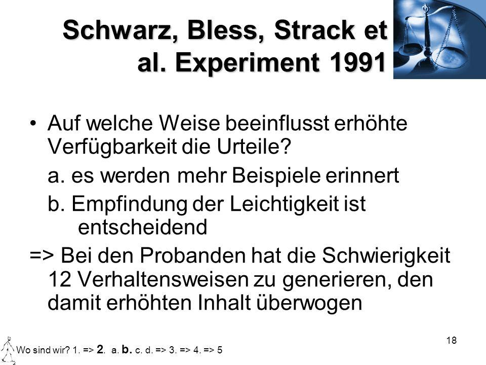Schwarz, Bless, Strack et al. Experiment 1991