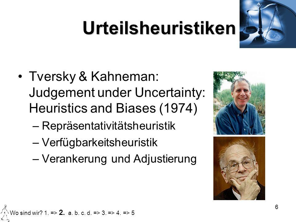 Urteilsheuristiken Tversky & Kahneman: Judgement under Uncertainty: Heuristics and Biases (1974) Repräsentativitätsheuristik.