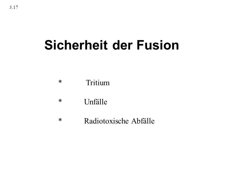 3.17 Sicherheit der Fusion * Tritium * Unfälle * Radiotoxische Abfälle