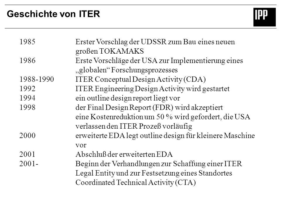 Geschichte von ITER 1985 Erster Vorschlag der UDSSR zum Bau eines neuen. großen TOKAMAKS.
