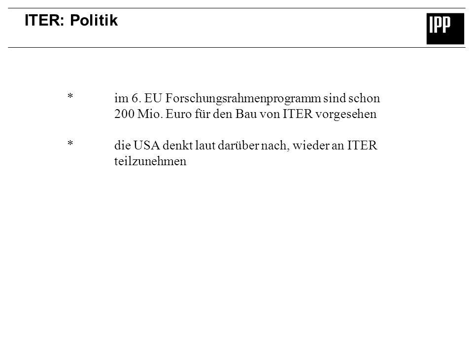 ITER: Politik * im 6. EU Forschungsrahmenprogramm sind schon