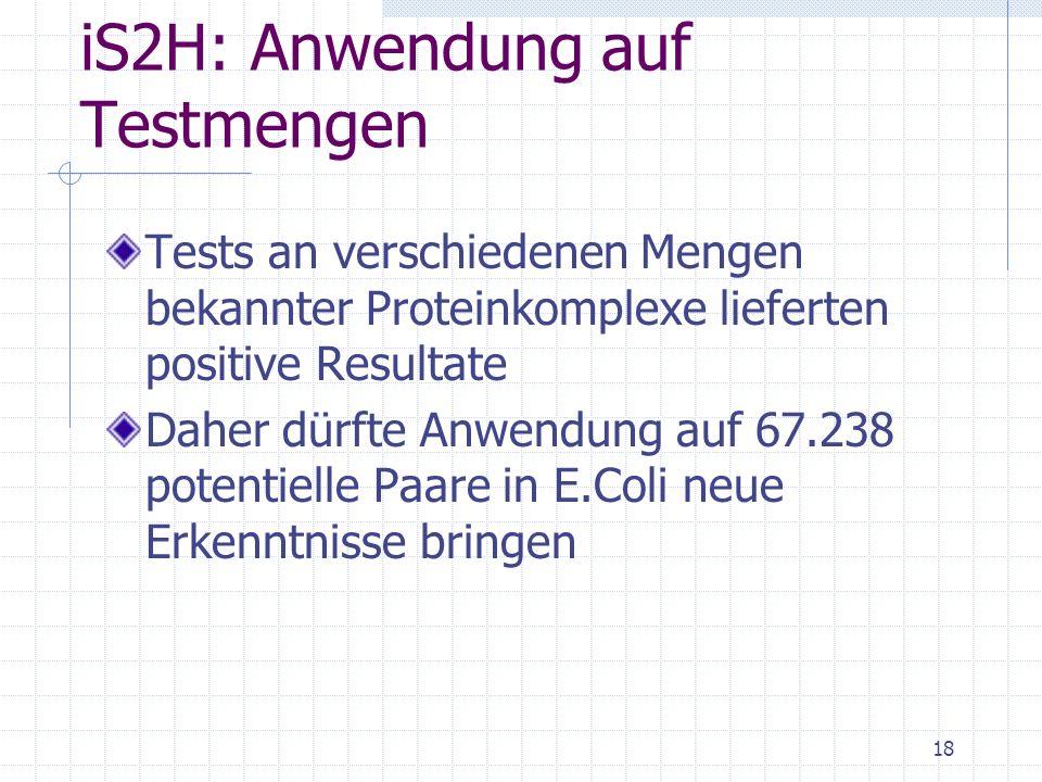 iS2H: Anwendung auf Testmengen