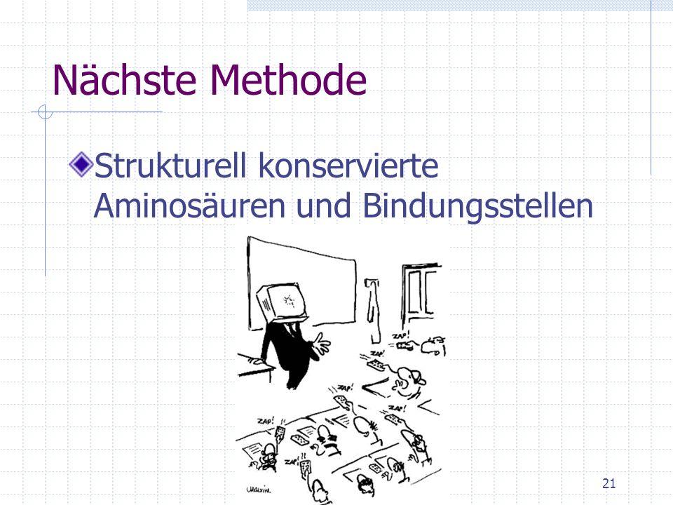 Nächste Methode Strukturell konservierte Aminosäuren und Bindungsstellen
