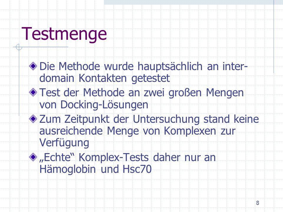 Testmenge Die Methode wurde hauptsächlich an inter-domain Kontakten getestet. Test der Methode an zwei großen Mengen von Docking-Lösungen.