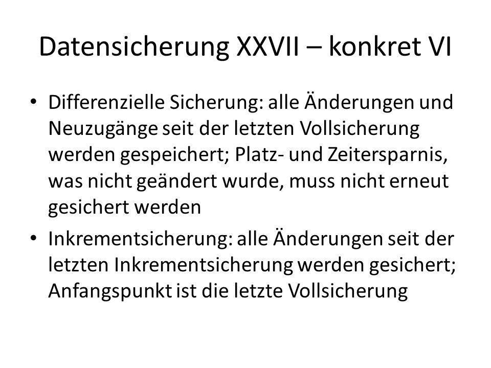 Datensicherung XXVII – konkret VI