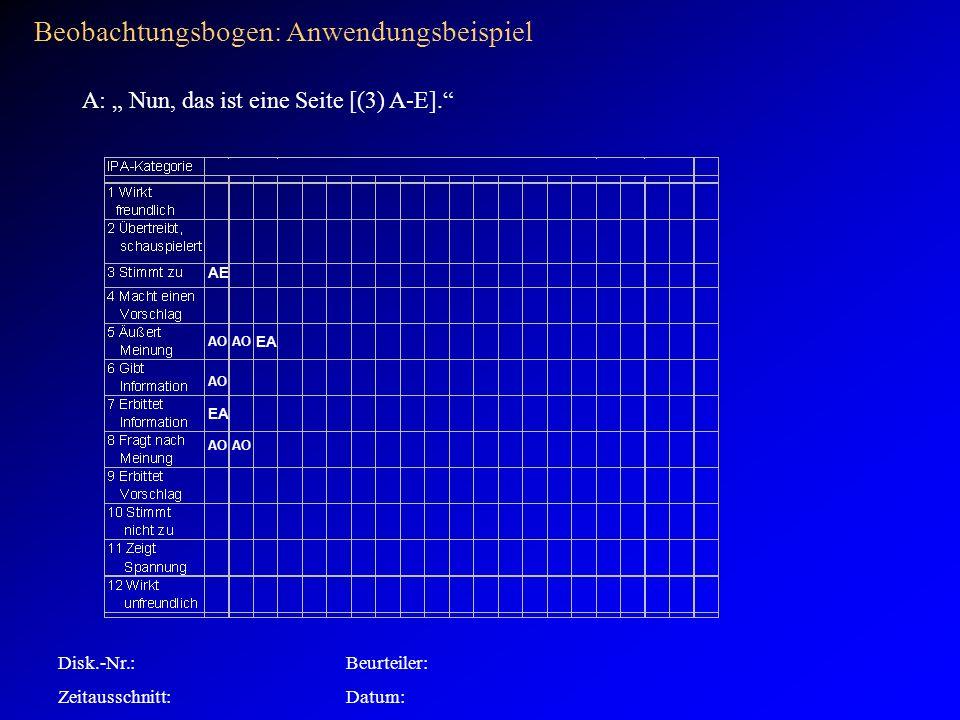 Beobachtungsbogen: Anwendungsbeispiel