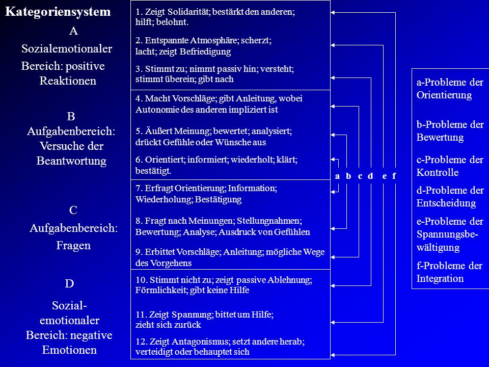 Kategoriensystem A Sozialemotionaler Bereich: positive Reaktionen B