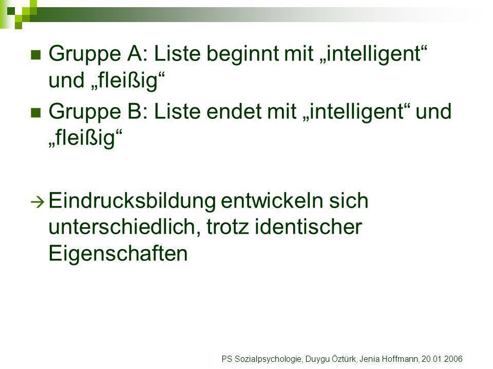 """Gruppe A: Liste beginnt mit """"intelligent und """"fleißig"""