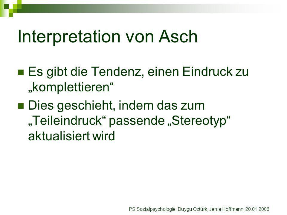 Interpretation von Asch