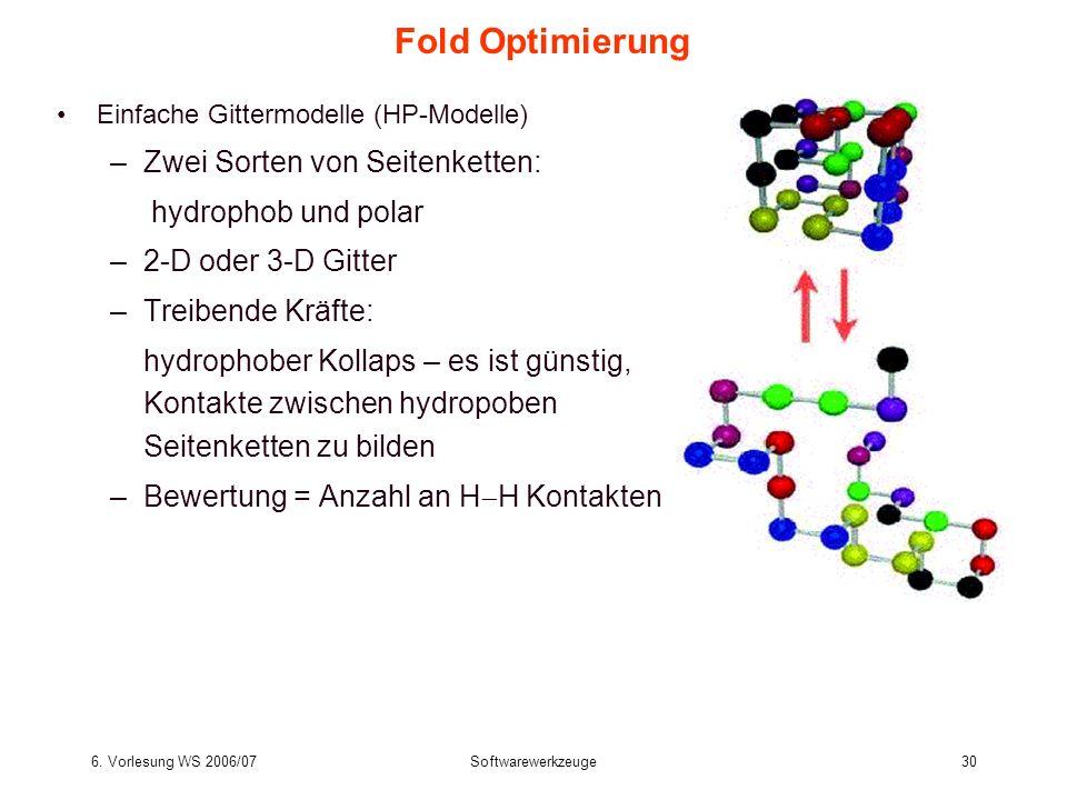 Fold Optimierung Zwei Sorten von Seitenketten: hydrophob und polar