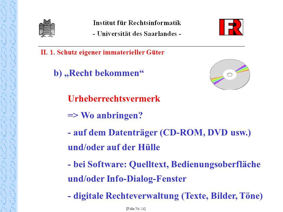 Urheberrechtsvermerk => Wo anbringen