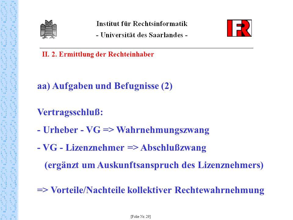 aa) Aufgaben und Befugnisse (2) Vertragsschluß: