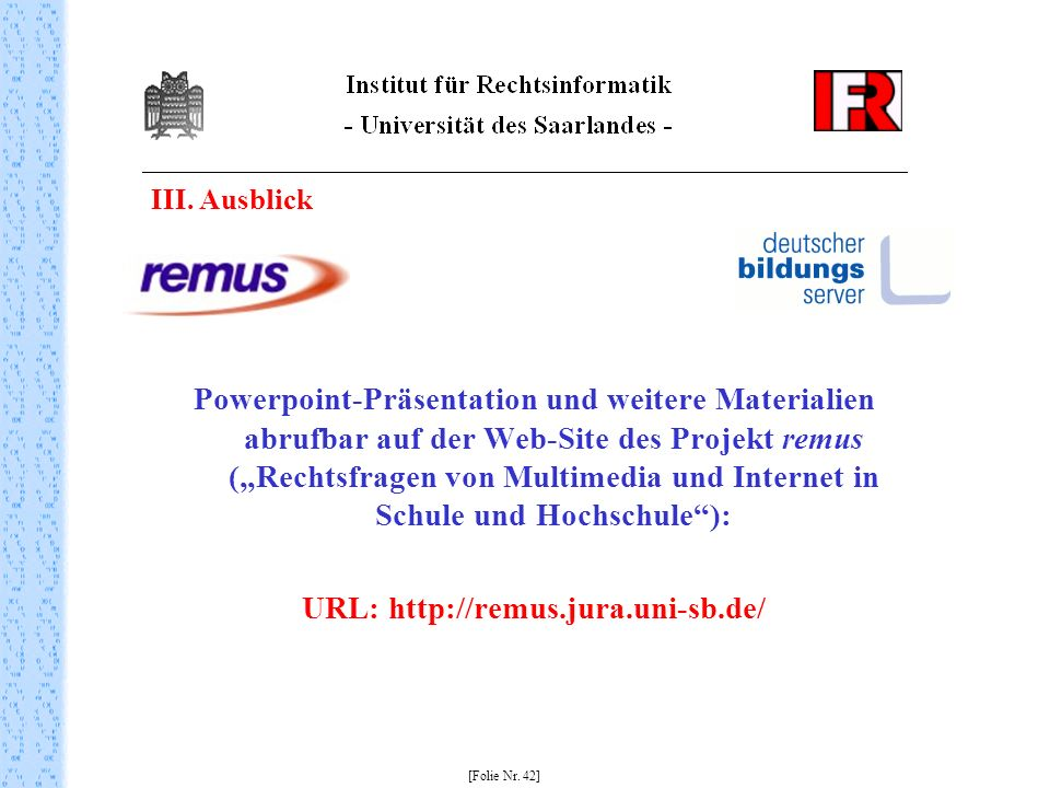URL: http://remus.jura.uni-sb.de/