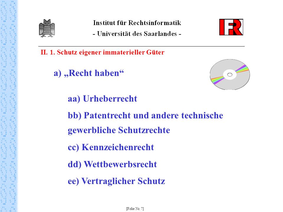 bb) Patentrecht und andere technische gewerbliche Schutzrechte