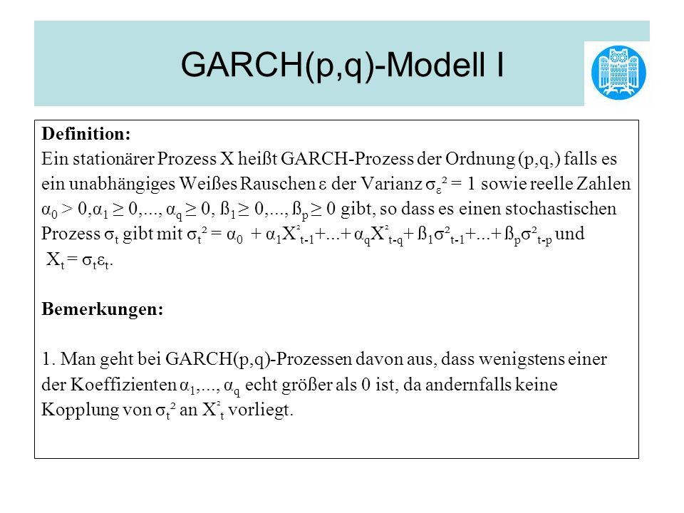 GARCH(p,q)-Modell I Definition: