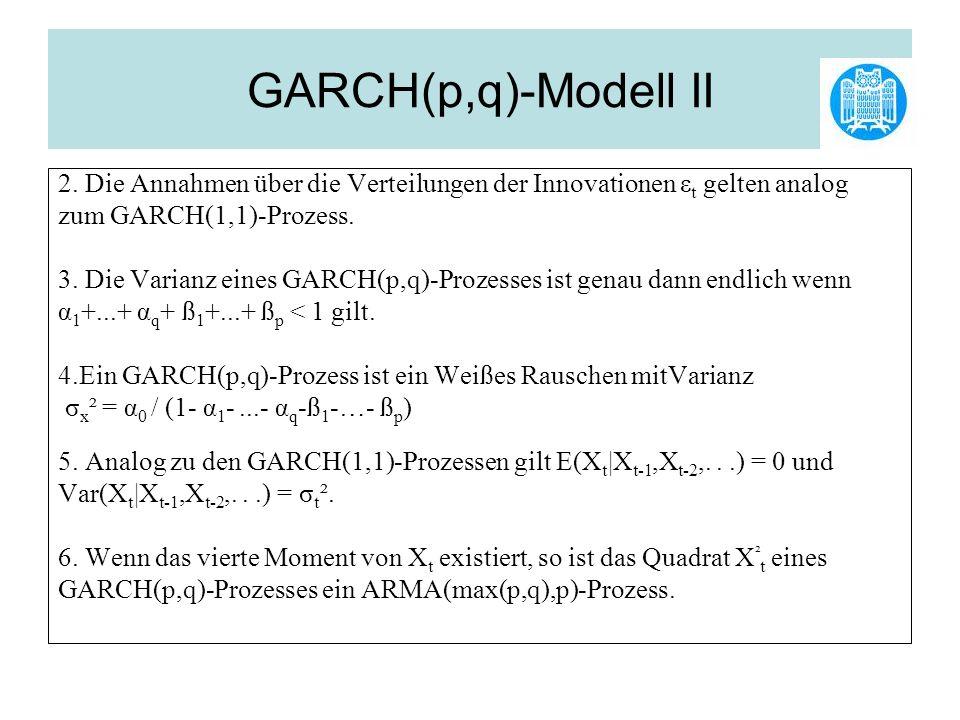 GARCH(p,q)-Modell II 2. Die Annahmen über die Verteilungen der Innovationen εt gelten analog. zum GARCH(1,1)-Prozess.