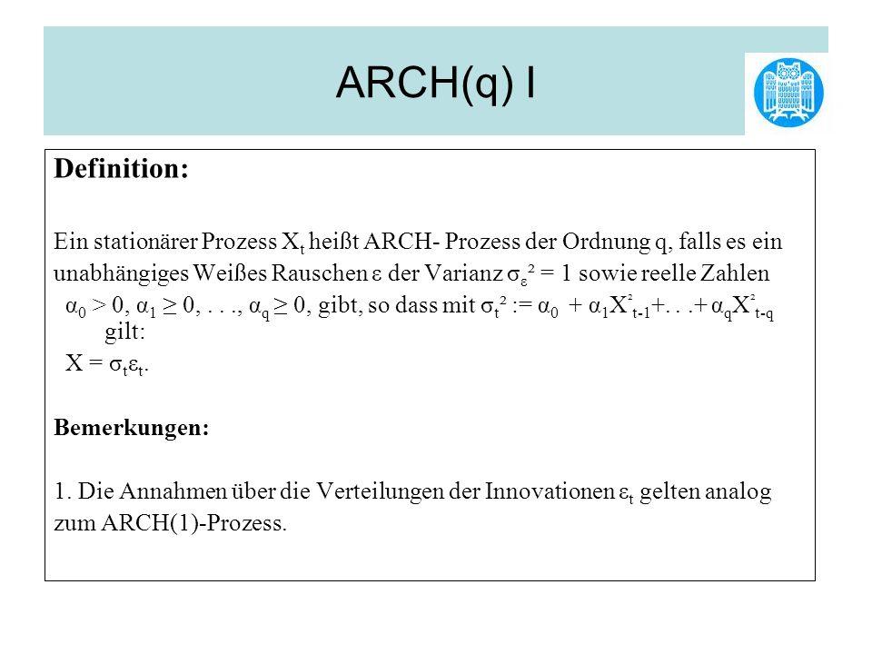 ARCH(q) I Definition: Ein stationärer Prozess Xt heißt ARCH- Prozess der Ordnung q, falls es ein.