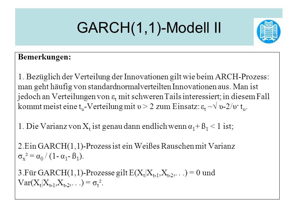 GARCH(1,1)-Modell II Bemerkungen: