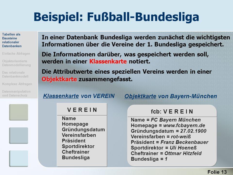 Beispiel: Fußball-Bundesliga