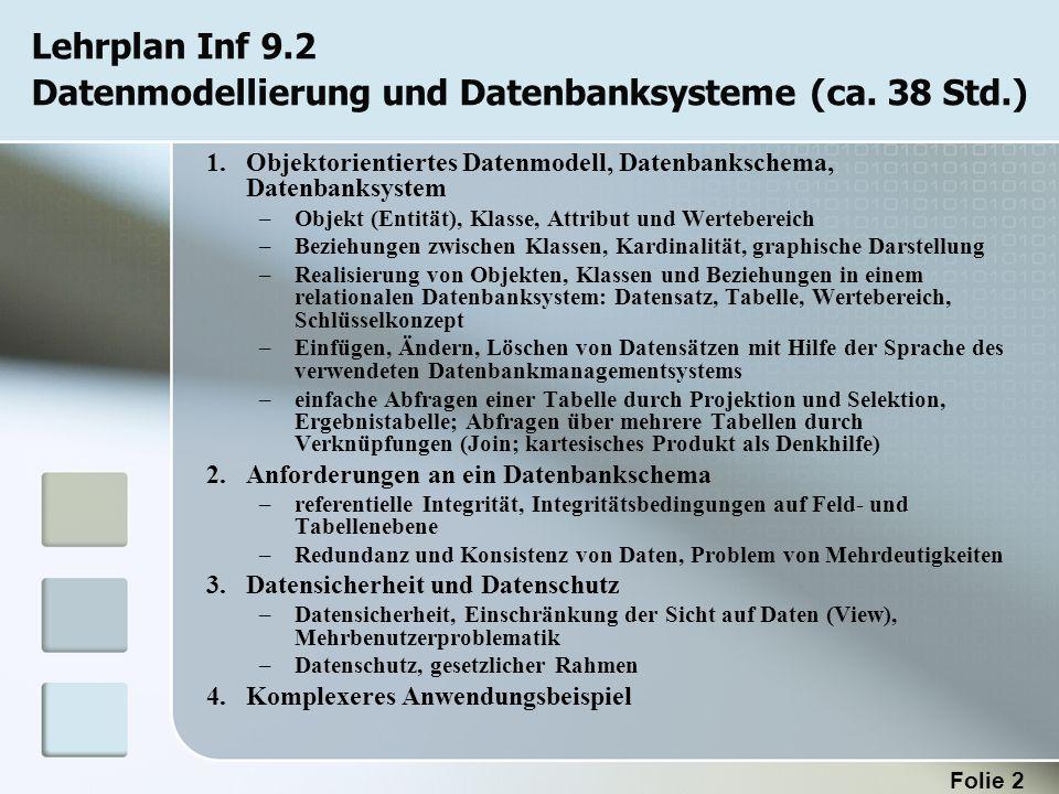 Lehrplan Inf 9.2 Datenmodellierung und Datenbanksysteme (ca. 38 Std.)