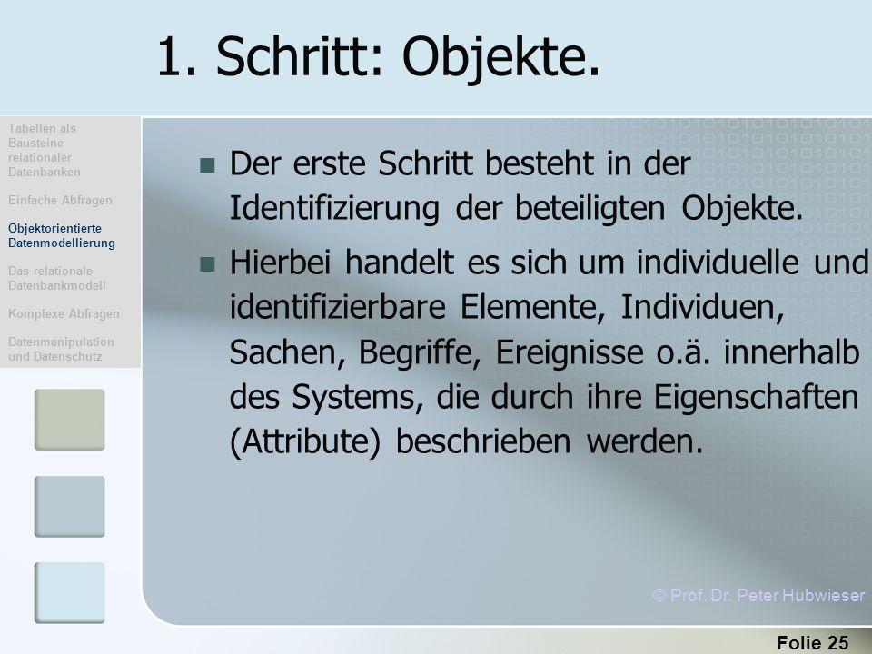 1. Schritt: Objekte. Tabellen als Bausteine relationaler Datenbanken. Einfache Abfragen. Objektorientierte Datenmodellierung.