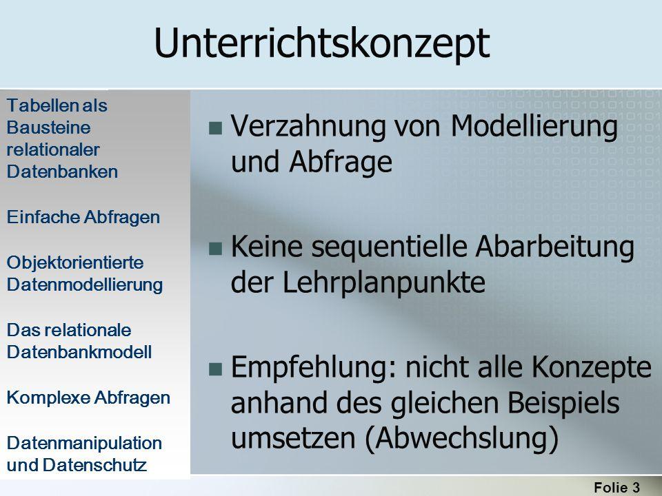 Unterrichtskonzept Verzahnung von Modellierung und Abfrage