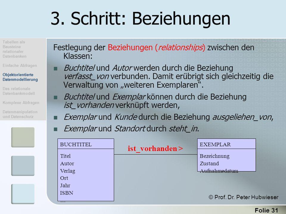 3. Schritt: Beziehungen Tabellen als Bausteine relationaler Datenbanken. Einfache Abfragen. Objektorientierte Datenmodellierung.
