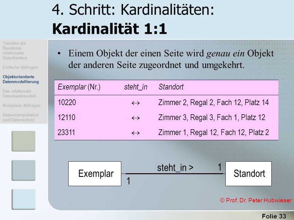 4. Schritt: Kardinalitäten: Kardinalität 1:1
