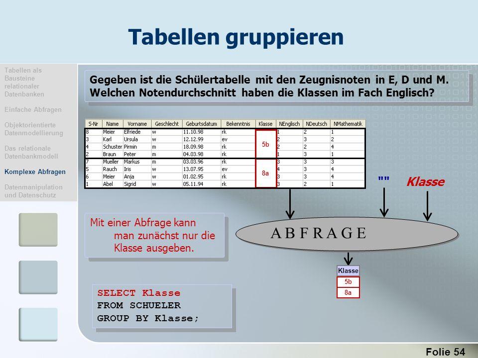 Tabellen gruppieren A B F R A G E Klasse