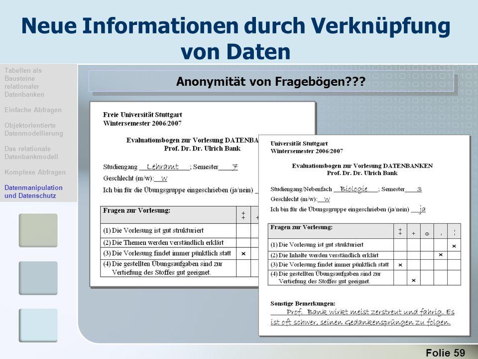 Neue Informationen durch Verknüpfung von Daten