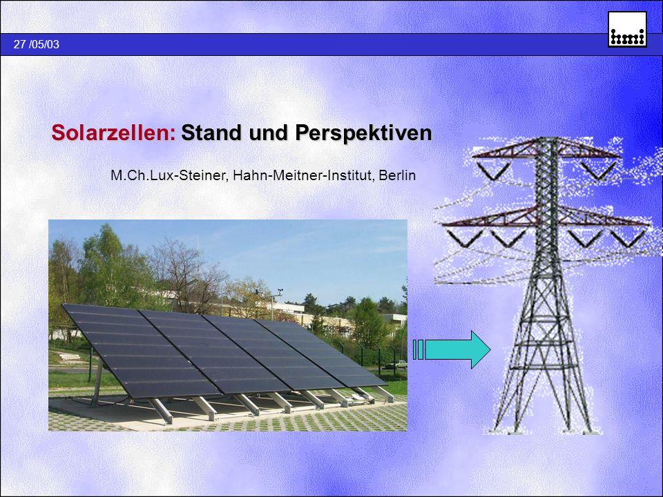 Solarzellen: Stand und Perspektiven