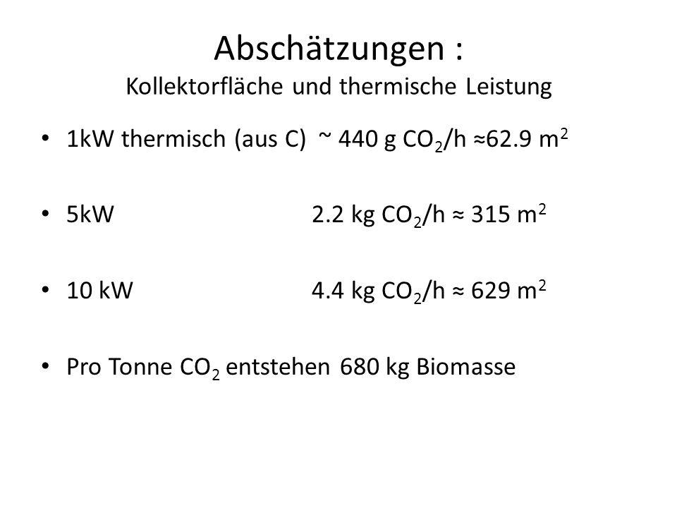 Abschätzungen : Kollektorfläche und thermische Leistung