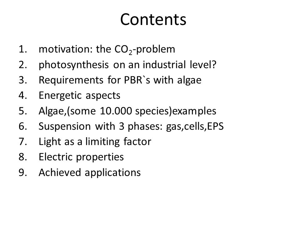 Contents motivation: the CO2-problem