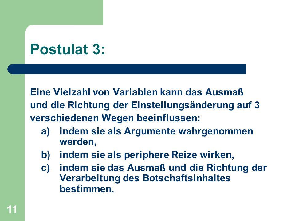 Postulat 3: Eine Vielzahl von Variablen kann das Ausmaß