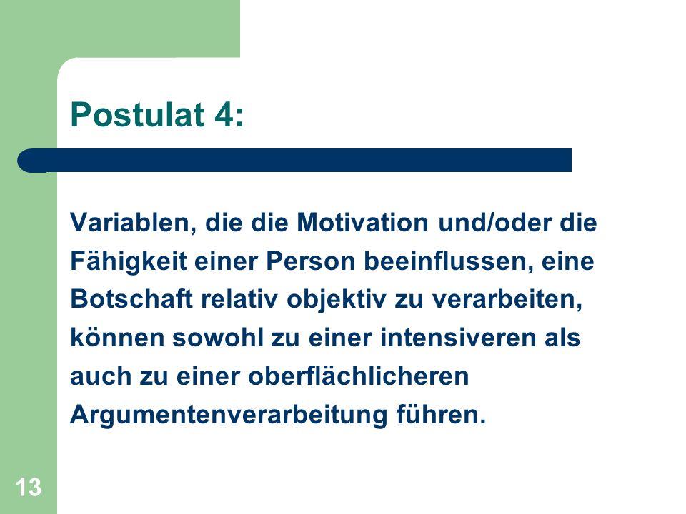 Postulat 4: Variablen, die die Motivation und/oder die