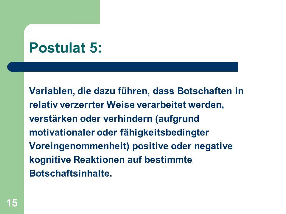Postulat 5: Variablen, die dazu führen, dass Botschaften in