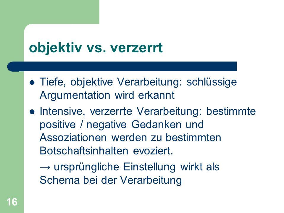 objektiv vs. verzerrt Tiefe, objektive Verarbeitung: schlüssige Argumentation wird erkannt.
