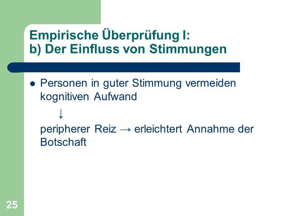 Empirische Überprüfung I: b) Der Einfluss von Stimmungen