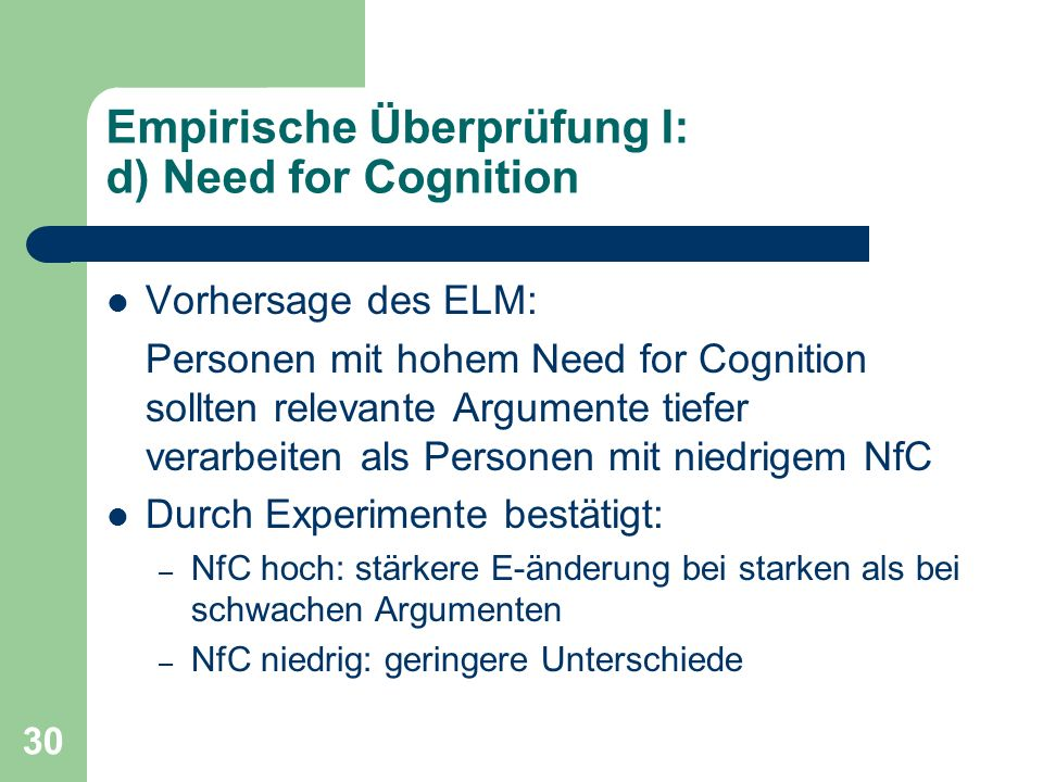 Empirische Überprüfung I: d) Need for Cognition