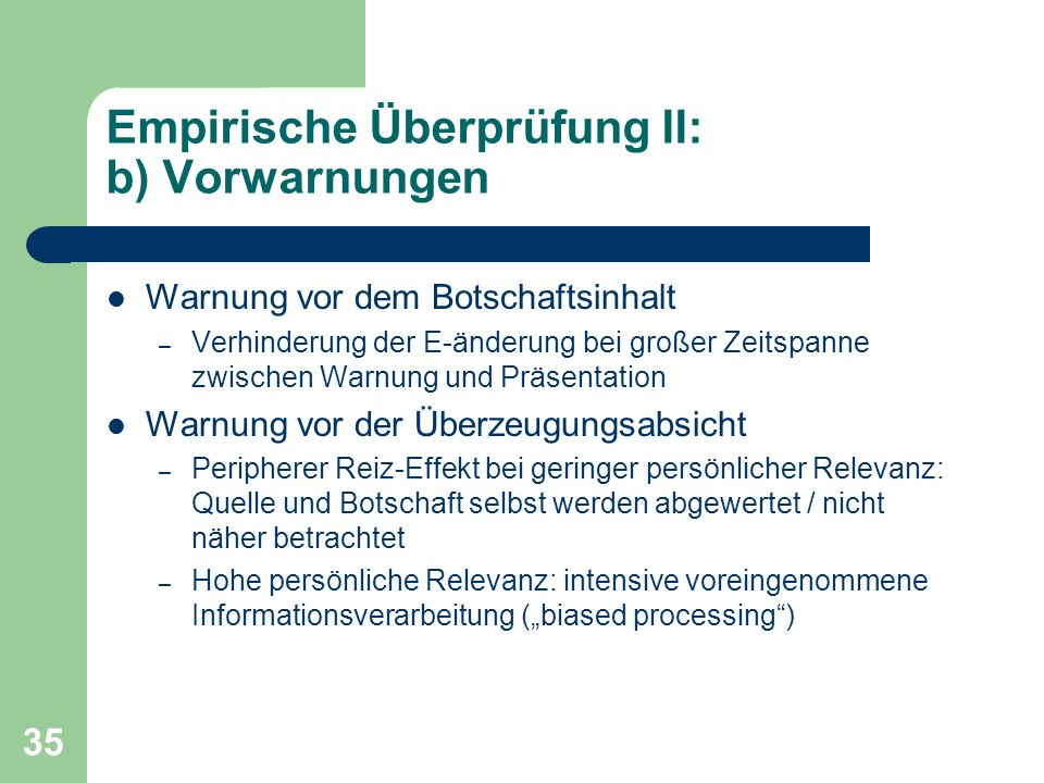Empirische Überprüfung II: b) Vorwarnungen