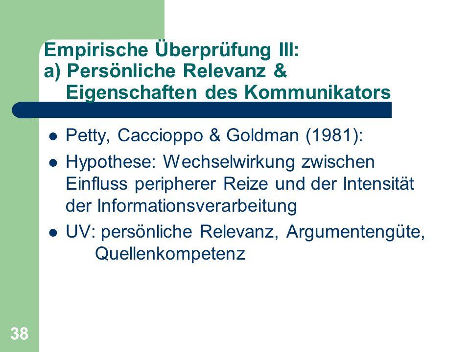 Empirische Überprüfung III: a) Persönliche Relevanz & Eigenschaften des Kommunikators