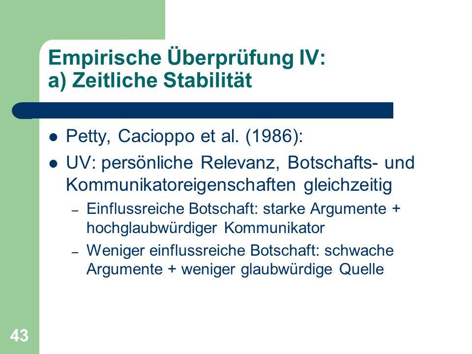 Empirische Überprüfung IV: a) Zeitliche Stabilität