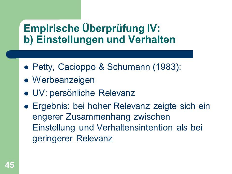 Empirische Überprüfung IV: b) Einstellungen und Verhalten
