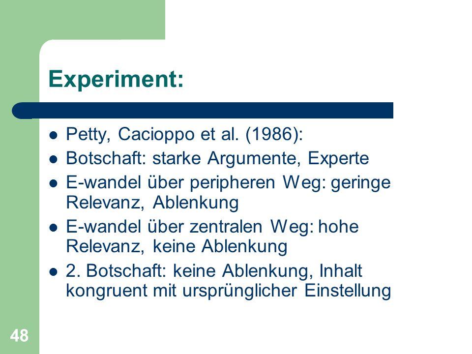 Experiment: Petty, Cacioppo et al. (1986):