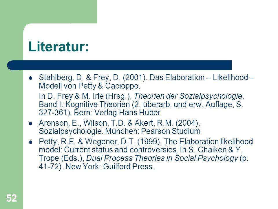 Literatur: Stahlberg, D. & Frey, D. (2001). Das Elaboration – Likelihood – Modell von Petty & Cacioppo.